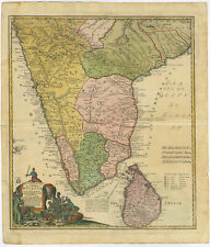 Antique Map-CEYLON-INDIA-SRI LANKA-MALABAR-COROMANDEL-Homann Heirs-1733