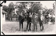VINTAGE PHOTOGRAPH 1920'S HATS SUITS MENS FASHION AIREDALE TERRIER DOG OLD PHOTO