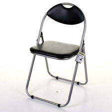 FOLDING OFFICE CHAIR FAUX LEATHER PADDED SEAT BACK REST DECK CHAIR BLACK PINK