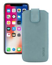 """IPHONE 11 pro 5.8 """" Leather Cover Case Cover Antique Turquoise+Silicone Case"""
