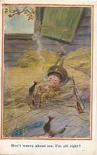 POSTCARD   COMIC  CHILDREN   WWI  Don't worry about me....   Gilson