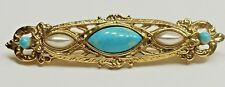 - Faux Pearl and Turquoise A47) 1928 Gold-tone Pin - Brooch