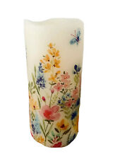 Hand Crafted LED Battery Wax Candle - Country Flowers - Gift Mothers Day