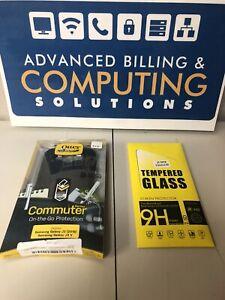 OtterBox Commuter Case Samsung Galaxy J3 2016 J3 V Black + 1x Tempered Glass