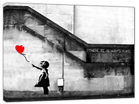 Banksy There is Always HOPE BW Paint  Print On Framed Canvas Wall Art Home Decor