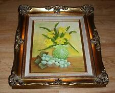 VINTAGE YELLOW DAFFODILS JADE HOBNAIL GLASS VASE GREEN GRAPE STILL LIFE PAINTING