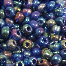 Perles de Rocailles en verre Opaque 4mm Bleu irisé 20g (6/0)