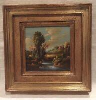 Beautiful Vintage Landscape Oil Painting Signed Van Ros, Framed