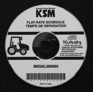 GENUINE KUBOTA M8560 & M9960 TRACTOR FLAT RATE SCHEDULE MANUAL CD