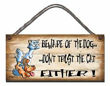 SHABBY CHIC FUNNY SIGN BEWARE OF THE DOG DON'T TRUST THE CAT EITHER PRESENT 13