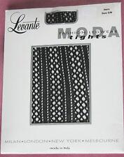 Black Crochet à rayures verticales Côtelé Collants. 8-12 nouveau femme polymide & élasthanne