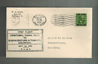 1929 Panama Canal Zone First Flight Cover FFC to Buenaventura Colombia