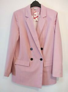 New Candy Pink Blazer Jacket Size 10 Double Breasted Signature Stripe Lining