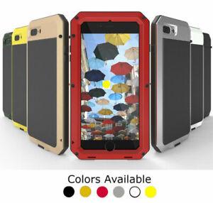For iPhone 12 11 X 8 7 6 5 SE - Gorilla Glass Metal Shockproof Waterproof Case