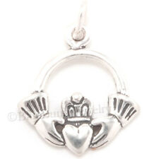 CLADDAGH Celtic Irish HEART in HANDS Claddaugh Charm Pendant 925 Sterling Silver