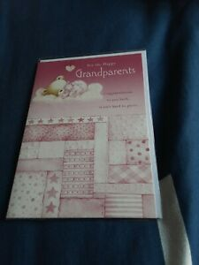 For the happy grandparents new baby girl Greeting Card BNIP - bear