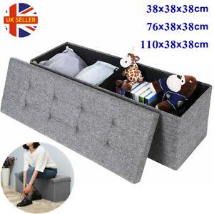 Grey Large Fine Linen Folding Storage Ottoman Pouffe Seat Foot Stool Storage Box