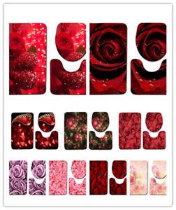 Rose Petal Bathroom Non-slip Mat Set 3 Piece Floor Soft Rug Toilet Lid Cover New