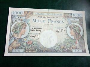 FRANCE - 1000 FRANCS 1940 - RARE LARGE  BANKNOTES