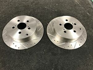 FOR  TOYOTA CELICA VVTI 140 190 BRAKE DISCS REAR PAIR SPORT DRILLED GROOVED