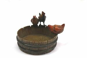MAGNIFICENT 1900 AUSTRIAN BRONZE DISH WITH 3 ROOSTERS SIGNED