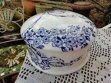 Vintage James Kent Fenton Garland Round Lidded Box Blue White Roses & Ribbons