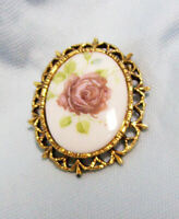 Vintage Jewelry Brooch Pin Painted Deep Pink Rose with Filigree Gold Tone Frame