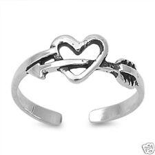 Heart & Arrow Toe Ring Sterling Silver 925 Beach Adjustable Best Price Jewelry