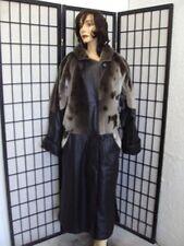 *~EXCELLENT ARCTIC BEAVER FUR COAT JACKET W/ LEATHER WOMEN WOMAN SZ 12-14 LARGE