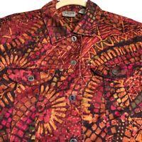 Chico's Women Long Sleeve Jacket Sz 1 Medium Colorful Abstract Geometric Pockets