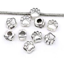 20 Antiksilber European Beads Hundpfote Spacer Perlen Charm Element 11x11mm FL