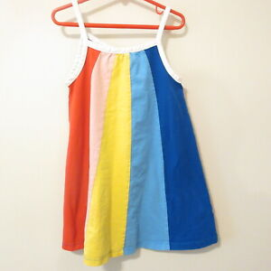 Girls 110 5 Years Hanna Andersson Rainbow Striped Summer Tank Dress EUC