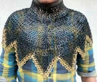 CHAINMAIL COLLAR (neck protection) 9 MM CHAIN MAIL FLAT RIVETED WITH BRASS EDGE