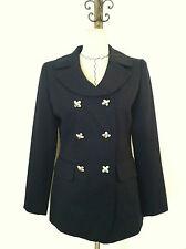 Vintage 90 women blazer navy blue silver button double breast long sleeve size 4