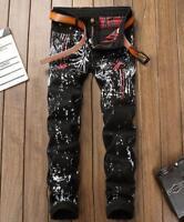 Mens boys ink printed denim slim straight denim jeans trousers pants black Punk