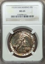 SAN MARINO 1933-R  20 LIRE SILVER COIN, GEM UNCIRCULATED, CERTIFIED NGC MS-65