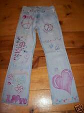 Faded Glory jeans Distress boho gypsy size six 6 Peace Hand designed
