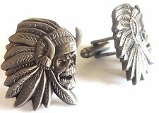 Indian Chief Skull Skeleton Harley Motorcycle Biker HOG Victory Cufflinks Set