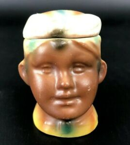 Antique VTG Salt Cellar Mustard Pot Jar Porcelain FIGURAL Head Figural Rare Tiny