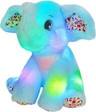 Bstaofy Light up Elephant Plush Blue Cozy Floppy LED Stuffed Animals Lullabies N