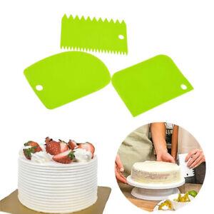 3 Pcs Cake Cream Plastic Scraper Spreader Smooth Baking Cutting Tool Smoothing