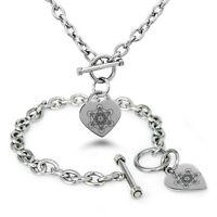 Stainless Steel Metatron's Cube Symbols Heart Charm Bracelet, Necklace, Set