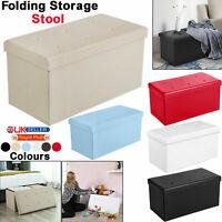 X-LARGE Large Folding Ottoman Storage Box Faux Leather Pouffe Footstool Seat UK
