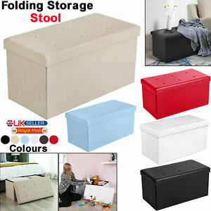 1 & 2 Seater Folding Ottoman Storage Box Footstool Living Room Bedroom Seat New