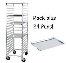 "24 PACK Full Size 18"" x 26"" Pans + 20 Pan Rack Commercial Dough Baking Bun Sheet"