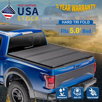 Hard Tri-Fold For 2019-2021 Ford Ranger 5ft Bed Tonneau Cover Truck Bed On Top
