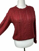 Laura Ashley Red Chunky Knit Cable Wool Blend Cardigan Casual Long Sleeve UK12