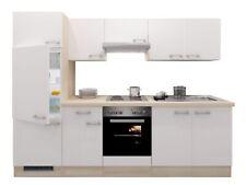 Einbauküche mit Elektrogeräten Küchenzeile Küchenblock 270 cm weiss akazie