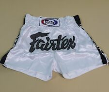 SHORTS FAIRTEX MUAY THAI FIGHT MMA TRAINING KICK BOXING WHITE ADULT XL SATIN
