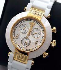 Reloj Cronógrafo nuevo Versace 92CCP11D497S001 Mujer Reve chapado ionizado yellowgold Cerámica Blanco